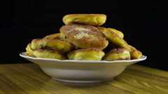 Homemade Pies on a Plate Rotating Stock Footage
