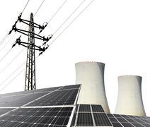 Solar energy panels, nuclear power plant and electricity pylon Kuvituskuvat