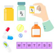 Pills and drug medicaments in flat style Stock Illustration