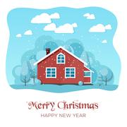 House in winter forest. Christmas card background poster. Vector illustration Stock Illustration