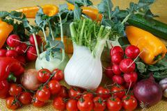Assortment of fresh vegetables close up Stock Photos