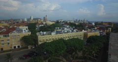 Low Flyover the city of Cartagena Stock Footage