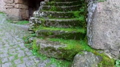 Stone stairs of old village stone house, steady cam Stock Footage