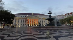 Rossio square  at nightfall in Lisbon, Portugal, steady shot Stock Footage
