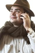 Man with cellular telephone - stock photo