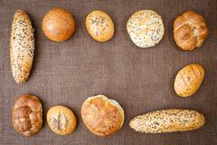 Different sorts of wholemeal breads and rolls Stock Photos