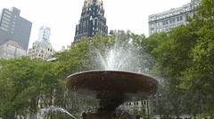 Water fountain in Bryant Park, Manhattan, New York City Stock Footage