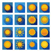 Sun Flat Icons In Isolated Blue Squares - stock illustration