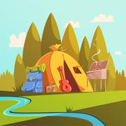 Hiking And Tent Illustration - stock illustration