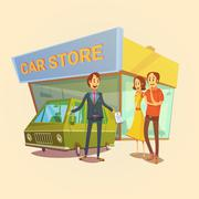 Car Dealer And Clients Concept - stock illustration