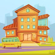 School Cartoon Background Stock Illustration