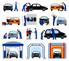 Stock Illustration of Car Wash Service Flat Pictograms Set