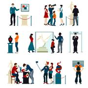 Color Icons Set Of People Visiting Exhibition Stock Illustration