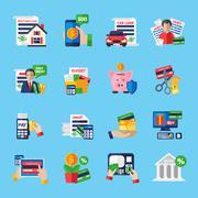 Loan Debt Flat Color Icons Set Stock Illustration