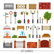 City Elements Flat Icons Set Stock Illustration