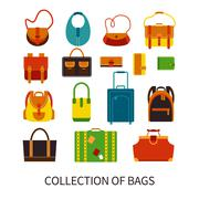 Modern Bags Ftat Colorful Icons Set - stock illustration