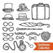 Gentelman Vintage Accessories Doodle Black Set - stock illustration
