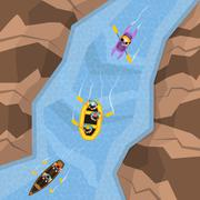 Rafting On River Top View - stock illustration