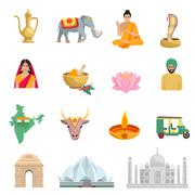 India Flat Icons Set Stock Illustration