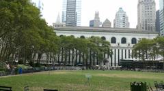 Stock Video Footage of Bryant Park, 42nd street, Manhattan, New York City
