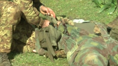 Military education and training-first aid - stock footage