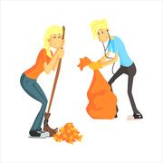 Guy And Girl Picking Leaves Stock Illustration
