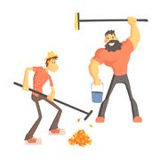 Two Man Picking Up Leaves Stock Illustration