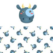 Cow Head Icon And Pattern Stock Illustration