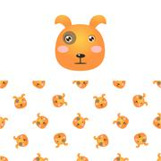 Puppy Head Icon And Pattern - stock illustration