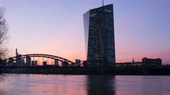 EZB (European Central Bank) Frankfurt and River Main at dusk, time lapse Stock Footage