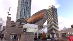 The Fish sculpture by Frank Gehry, Peix Olimpico at Barcelona seaside Stock Footage