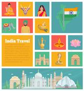 India Decorative Flat Icons Stock Illustration