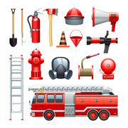 Firefighter Equipment And Machinery Icons Set - stock illustration