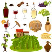 Wine Cartoon Icons Set - stock illustration