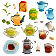 Types Of Tea Set - stock illustration