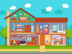Family Home Interior Design Concept Stock Illustration