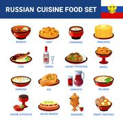 Russian Cuisine Dishes Flat icons Collection Stock Illustration