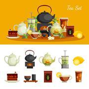 Tea Icons Set - stock illustration