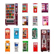 Vending Machines Icons Set - stock illustration
