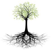 Tree with roots vector silhouette - stock illustration