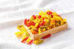Stock Photo of Gluten free corn and vegetable pasta spirals macaroni
