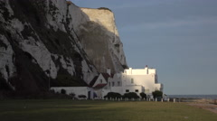 Dover England white cliffs home by ocean 4K Stock Footage