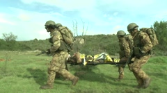 Military education and training-rescue helicopter transport wounded on board. Stock Footage