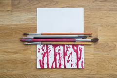 Bloody blots of ink with different brushes on a white paper Kuvituskuvat