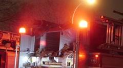4K Firetruck Flashing Emergency Siren Lights - Nighttime Arkistovideo