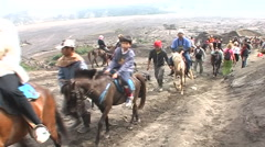 Stock Video Footage of Bromo vulcano, locals on horses