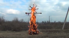 Paganism. Burning effigies . Farewell to winter - stock footage