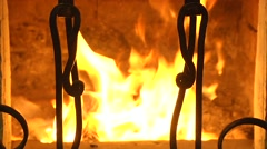 Fire. A cozy fireplace in the living room . Stock Footage