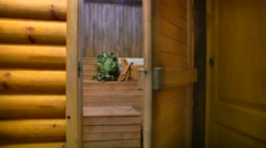 Sauna entrance . Health Stock Footage
