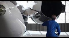 Jet Engine Wing Repair HD Stock Footage